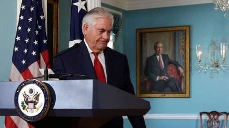 El secretario de Estado de EE.UU., Rex Tillerson, al término de la rueda de prensa celebrada en el Departamento de Estado el 4 de octubre de 2017.