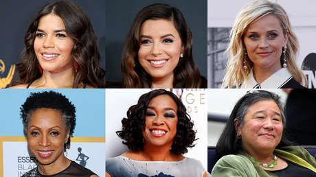 De izquierda a derecha, arriba: America Ferrera, Eva Longoria y Reese Witherspoon. Abajo: Nina Shaw, Shonda Rhimes y Christina Tchen.