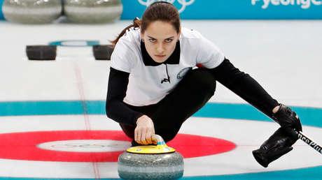 La atleta olímpica rusa, Anastasia Bryzgálova durante las olimpiadas de invierno Pyeongchang 2018, 10 de febrero de 2018.