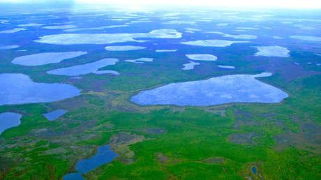 Vista aérea cerca de la ciudad de Cherski, en el noreste de Siberia el 28 de agosto de 2007.