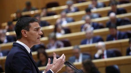 El presidente español Pedro Sánchez durante una sesión en el Senado en Madrid. 18 de diciembre de 2018.