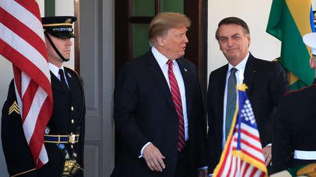 Presidentes de EE.UU. y Brasil, Donald Trump y Jair Bolsonaro, en Washington, 19 de marzo de 2019.