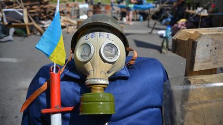 Die Ausrüstung eines Maidan-Kämpfers. Im Mai 2014, zum Zeitpunkt der Aufnahme, war das Zeltlager auf dem Unabhängigkeitsplatz (Maidan Nesaleschnosti) noch nicht geräumt.