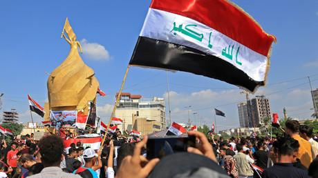 Proteste in der für Schiiten heiligen Stadt Kerbela im Irak gegen die Regierung von Ministerpräsident Adil Abd al-Mahdi am 31. Oktober