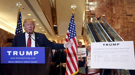 FILE PHOTO. U.S. Republican presidential candidate Donald Trump speaks during a news conference to reveal his tax policy at Trump Tower in Manhattan, New York September 28, 2015. ©Shannon Stapleton