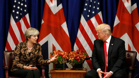 Donald Trump with Minister Theresa May during the U.N. General Assembly in New York, U.S., September 20, 2017. © Kevin Lamarque