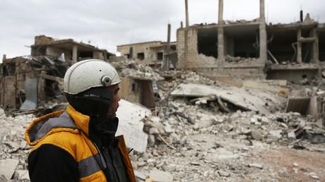 White Helmets member pictured in Eastern Ghouta © Abdulmonam Eassa / AFP