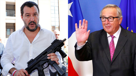 Matteo Salvini (L) © REUTERS / Remo Casilli; Jean-Claude Juncker (R) © REUTERS / Francois Lenoir