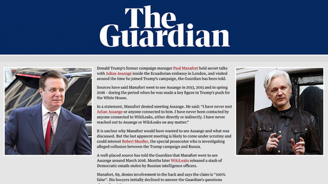 Manafort and Assange deny meetings claimed in Guardian's widely-criticized piece, threaten to sue