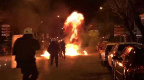 5c7c2714fc7e936f268b45b4 Greek police pelted with PETROL BOMBS as masked attackers take to Turkish consulate (VIDEO)