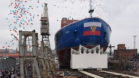 5ce96184fc7e93725b8b4595 Russia floats third in class of nuclear icebreakers set to guide ships through Arctic (VIDEO)