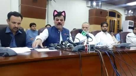 5d0502ecfc7e936b6f8b463a Puss conference: Pakistani politicians give media address with Facebook CAT FILTER enabled