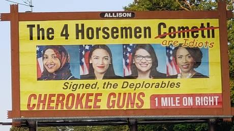 5d43a947dda4c88c1b8b4604 Gun shop billboard calls Dem Squad 'idiots', they call it 'inciting violence'