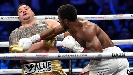 5dec37fe85f5404fa94a2798 Andy Ruiz Jr vs Anthony Joshua 2 in pictures: 16 great shots from the 'Clash on the Dunes' as Joshua reclaims his titles (PHOTOS)