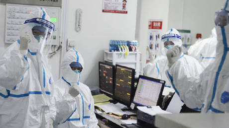 Members of the medical staff work at the Central Hospital in Wuhan, China.