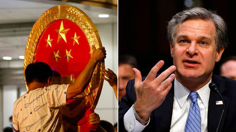 A Chinese national emblem being installed in Hong Kong, July 8, 2020 / FBI Director Christopher Wray (File Photo) ©  REUTERS/Tyrone Siu;  REUTERS/Yuri Gripas