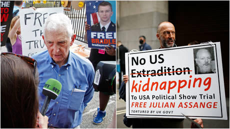 FILE PHOTOS: (L) Daniel Ellsberg gives an interview to RT at a protest at Fort Meade, Maryland; (R) Protestors carry signs outside London's Old Bailey court ahead of an extradition hearing for Julian Assange.