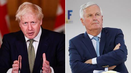 FILE PHOTOS (L) Boris Johnson © REUTERS/Toby Melville/Pool; (R) Michel Barnier © REUTERS/Gonzalo Fuentes