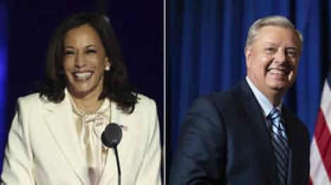 'They're on the same team': Kamala Harris' fist bump with Lindsey Graham has liberals and conservatives livid (VIDEO)