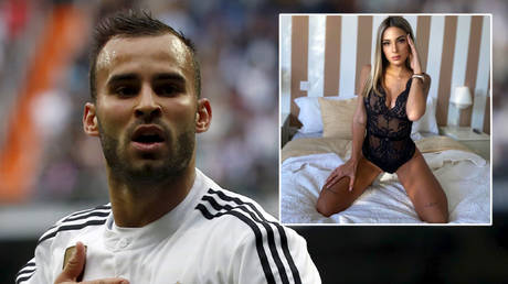 Jese Rodriguez (left) has been sacked by PSG after being accused of cheating on Aura Ruiz with Rocio Amar (right) © Sergio Perez / Reuters   © Instagram / rocio_amar
