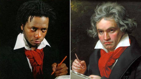 (L) Terry Adkins' interpretation of Beethoven © Facebook / BOZARbrussels; (R) Beethoven 1820 portrait © Wikipedia