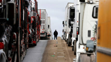 FILE PHOTO: A man stands between trucks waiting in a long queue at the Otay border crossing in Tijuana, Mexico, April 3, 2019 © Reuters / Carlos Jasso