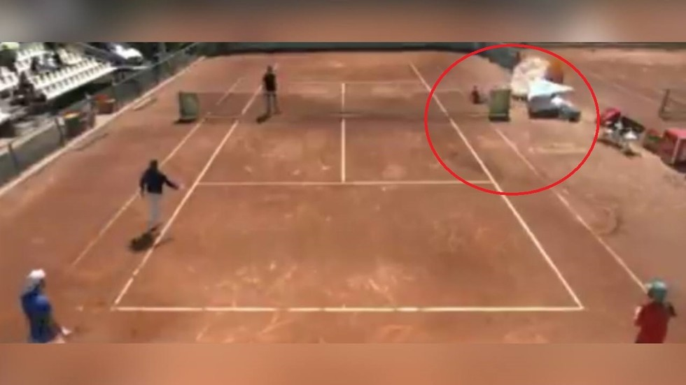 WATCH: Ball girl narrowly escapes disaster after umpire's chair almost CRUSHES her at ATP event