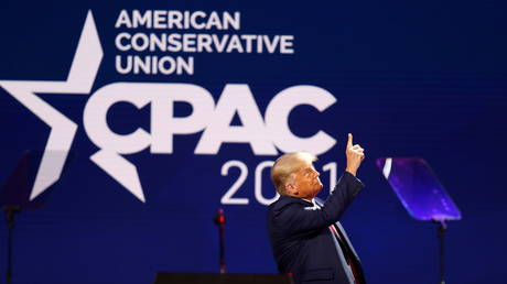 FILE PHOTO: Former US President Donald Trump speaks at the Conservative Political Action Conference in Orlando, Florida, US February 28, 2021