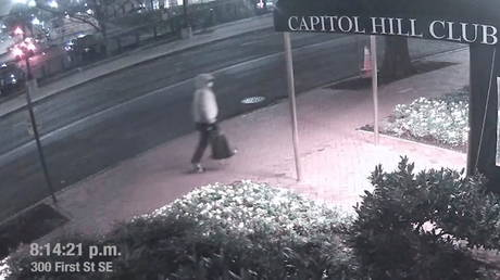 A suspect in the planting of explosive devices near the Democratic and Republican committee headquarters in Washington on January, 5, is seen in this still frame taken from a video released by the FBI on March 9, 2021. © FBI/ REUTERS