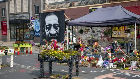 Minneapolis, Minnesota, Flower memorial for George Floyd killed by police.