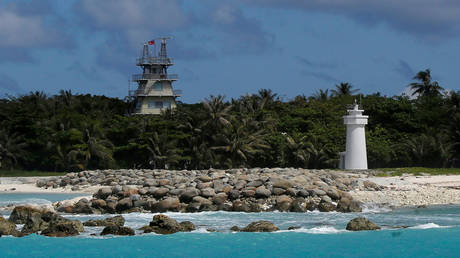 FILE PHOTO. Buildings and structures are seen on Itu Aba island at the South China Sea.