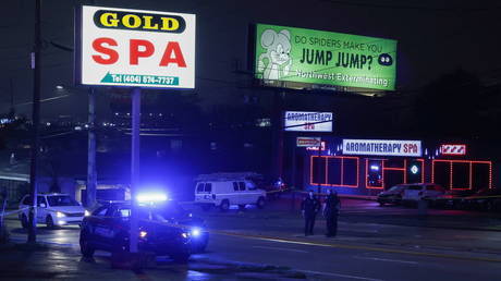 Atlanta police officers are seen outside of Gold Spa and Aromatherapy Spa after a series of lethal shootings, in Atlanta, Georgia, March 16, 2021.