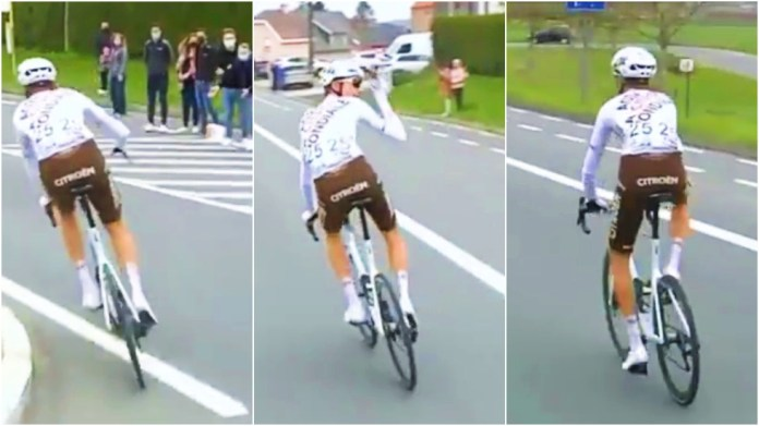 'You should hang your heads in shame': Cycling bigwigs' 'disgrace' after ousting star who dared to lob fans a water bottle (VIDEO)