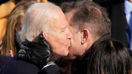 US President Joe Biden embraces his son Hunter at his inauguration in January 2021.