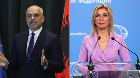 (L) Albanian Prime Minister Edi Rama © REUTERS / Florion Goga; (R) Russian Foreign Ministry's spokeswoman Maria Zakharova © Sputnik / Russian Foreign Ministry