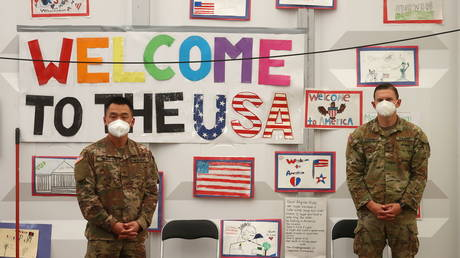 File photo: A reception for evacuees from Afghanistan at the US airbase in Ramstein, Germany, October 9, 2021.