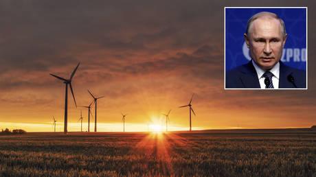 Wind Turbines in Biedesheim, Germany. © Unsplash / Karsten Würth; (inset) Vladimir Putin © REUTERS / Umit Bektas