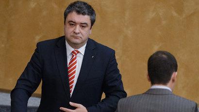 Democratic Party of Russia chairman Andrei Bogdanov at a State Duma meeting.(RIA Novosti / Vladimir Fedorenko)