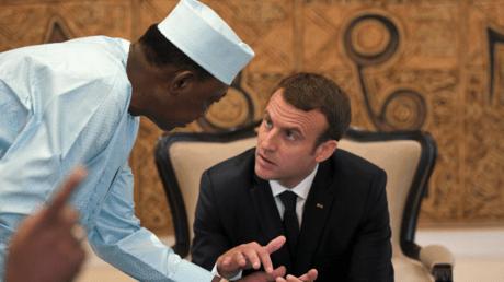 Emmanuel Macron and Chadian President Idriss Déby