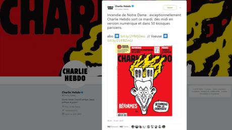 Charlie Hebdo fait sa une sur l'incendie de Notre-Dame de Paris et Emmanuel Macron