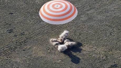 the manned soyuz is landing successfully in kazakhstan