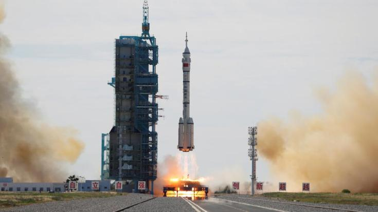 Long March-2F Y12 rocket carrying three astronauts, takes off for China's first manned mission to build its space station, near Jiuquan, Gansu province, China on June 17, 2021.