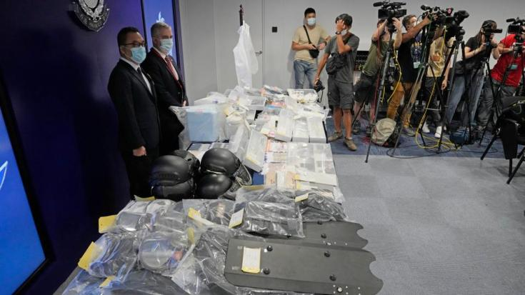 Confiscated evidence is displayed during a news conference as several people were arrested over the alleged plot to plant bombs around Hong Kong, at the police headquarters in Hong Kong on July 6, 2021.