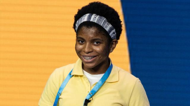 Zaila Avant-garde, 14, from New Orleans, Louisiana, competes in the first round of the 2021 Scripps National Spelling Bee Finals