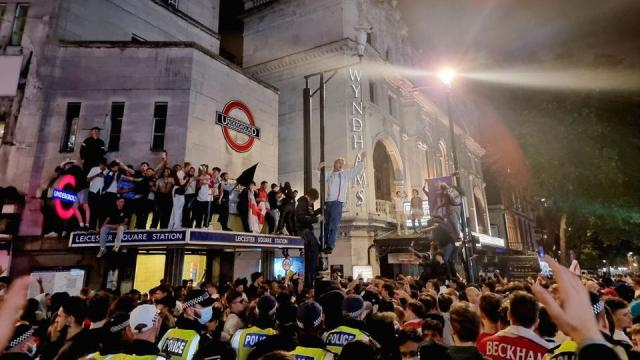 Fans gather to celebrate England's 2-1 win over Denmark in Euro 2020 semi-final on July 7, 2021.