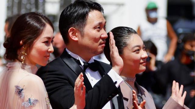 Director Ryusuke Hamaguchi, cast members of