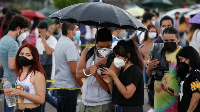 People, with ages between 18 and 29, queue to receive a dose of the Sputnik V Covid-19 vaccine, in Mexico City, Mexico on July 30, 2021.