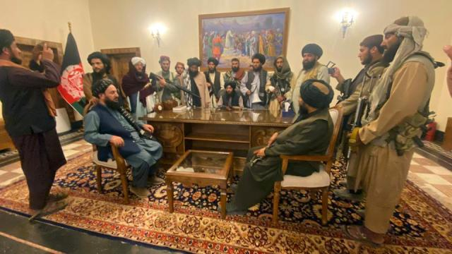 Taliban takes over Afghan presidential palace after President Ashraf Ghani fled the country in Kabul, Afghanistan on August 15, 2021.