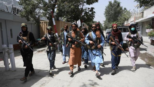 Taliban fighters patrol in the Wazir Akbar Khan neighbourhood in the city of Kabul, Afghanistan, August 18, 2021.