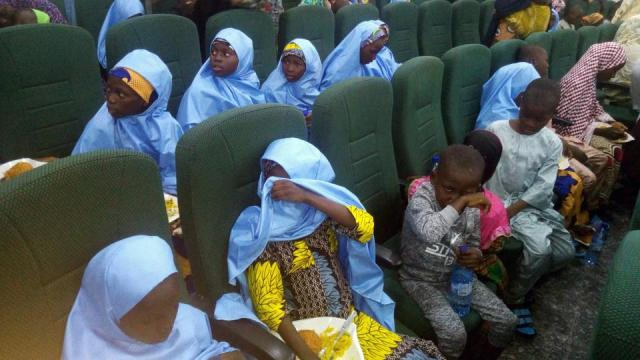 Students from Tegina's Salihu Tanko Islamic School who were abducted three months ago by gunmen, sit at the government house after their release, in Minna, Nigeria on August 27, 2021